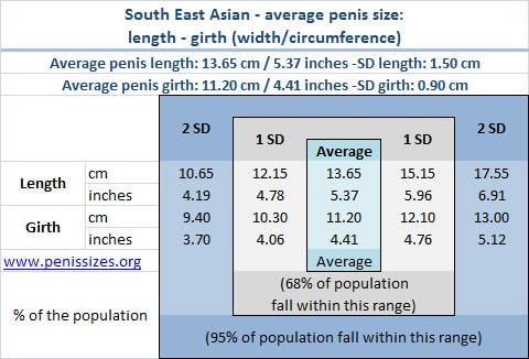 South-East Asian average and normal penis size range: length and girth